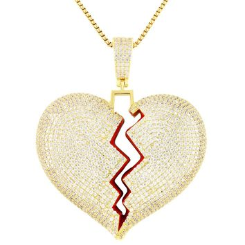 Men's Custom Broken Heart Iced Out Big Solid Back Pendant Chain