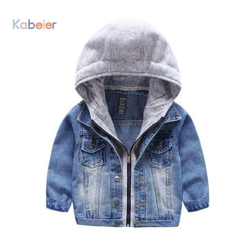 Spring Handsome Boys Jacket Outwear Coat 2017 Cowboy Kids Children Denim Coat Child Fashion Zipper Hooded Clothes 2-7 Years