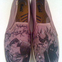 Custom Hand Drawn Sleeping Beauty Shoes