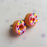 strawberry glazed doughnut stud earrings