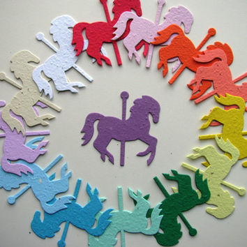 25 Seed Paper Carousel Horses
