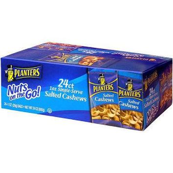 PLANTERS SALTED CASHEWS 24 CT NUTS ON THE GO