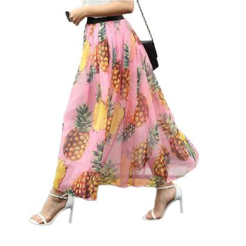 Bohemian Fashion Pink Pineapple Print Maxi Skirts Vintage Summer Long Chiffon Skirt Midi beach femme skirts