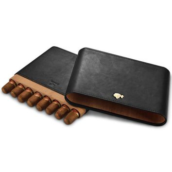 Portable travel cigar pouch Leather cigar humidors pouch cohiba Cigar pouches Cigar Accessories cedarwood case(hold 8 pcs)