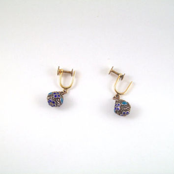 Beautiful Vintage Filagree and Cloisonné 12k Gold Filled Earrings