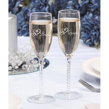 NEW Bride and Groom Etched Double Heart Wedding Toasting Glasses Champagne Flutes