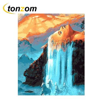 RIHE Woman Hair Waterfall Diy Painting By Numbers Abstract Horse Oil Painting On Cuadros Decoracion Acrylic Drawing Wall Art