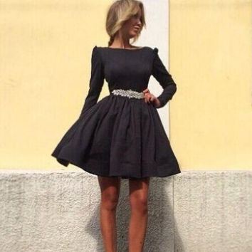 Long Sleeve Lace Belted A-Line Mini Skater Dress