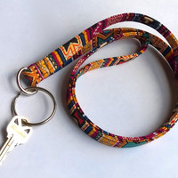 Tribal Print Lanyard / Aztec Indian Inspired / Boho Keychain / Bohemian / Key Lanyard / ID Badge Holder