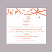 DIY Wedding Details Card Template Download Printable Wedding Details Card Orange Detail Card Elegant Information Card Editable Party Cards