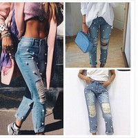 Women's autumn winter loose casual ripped boyfirned holes Jeans denims a13609