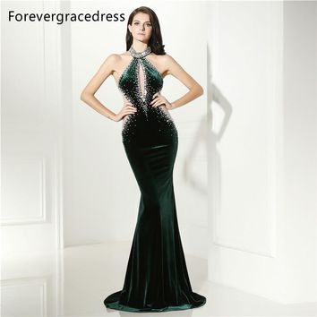 Forevergracedress Sexy Halter Neck Prom Dress Mermaid Dark Green Beaded Crystals Long Formal Party Gown Plus Size Custom Made