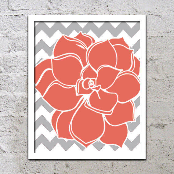 Bold Colorful Dahlia Flower Chevron Coral From TRM Design