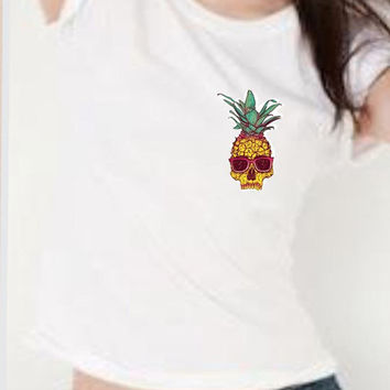 Punk Rock Pinapple Shirt Tumblr inspired ,Grunge, White Graphic Womens Shirt,Concert Shirt