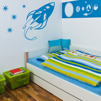 Vinyl Wall Decal Sticker Rocket Ship with Stars #OS_AA204