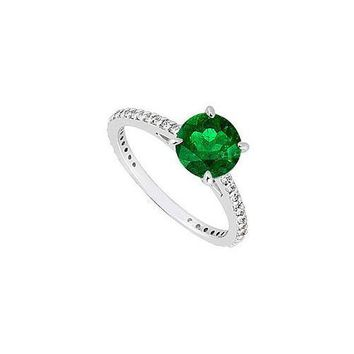 14K White Gold Emerald & Diamond Engagement Ring 0.85 CT TGW