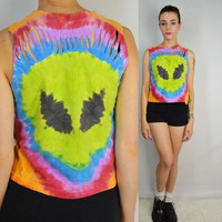 Alien Head Tie Dye Shirt Crop Tank Soft Grunge Cyber Slit Cut Womens Handmade Clothing Small XS UFO Space Green Alien
