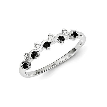 1/4 Ctw Black & White Diamond Wave Ring in Sterling Silver