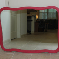 Hot pink large bubble wall mirror - Pink decor, vanity mirror, decorative mirror, painted mirror
