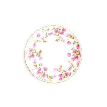 Pink Floral Border Print Jewelry Dish