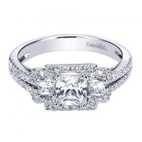 2.15cttw 3-Stone Princess Cut Diamond Engagement Ring with Pave Set Diamond Frame