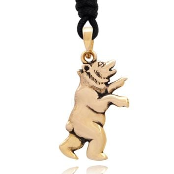 Bear Handmade Brass Charm Necklace Pendant Jewelry With Cotton Cord