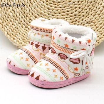 Baby Girl Shoes Geometric Printing Plus velvet Warm Bowknot Lacing Up Baby Boots Bebek Ayakkabi #1104