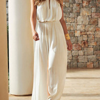 White Sleeveless V Cut Dress