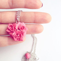 coral flower necklace, coral jewelry, coral wedding jewelry, coral, necklace, wedding, pendant, coral flower jewelry, coral flower