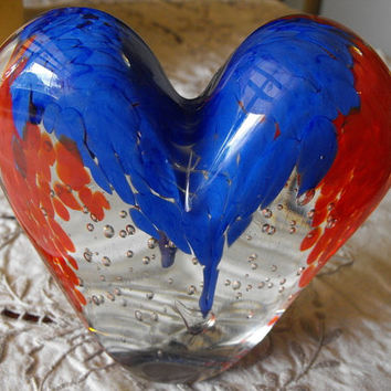 Vintage Glass Heart Shape Paperweight from Cristalleria Stile D'arte Murano  ( Italy)