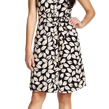 Crepe Leaf Print Shirtdress - Adrianna Papell