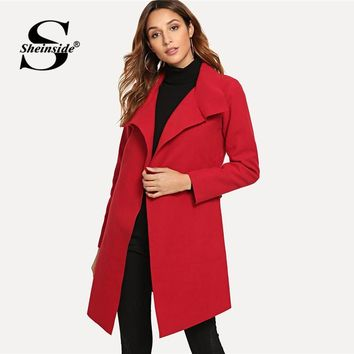 Sheinside Red Self Tie Solid Trench Coat For Women Elegant Overcoat Office Ladies Winter Outerwear Womens Knee Length Long Coats