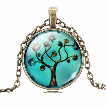Teal Tree Of Life Pendant Necklace Art Glass Cabochon Necklace Bronze Chain Vintage Choker Statement Necklace