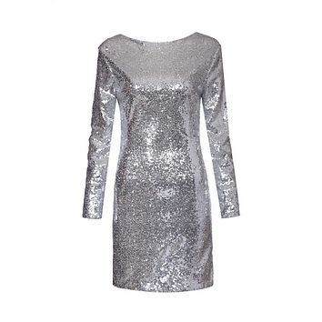 Women sexy backless sequined dress long sleeve party club hot Vestidos femininos European casual slim dress QZ2238