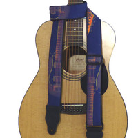 Guitar Strap with Guitar Silhouette. Blue. Orange. Guitar Accessory for Acoustic, Electric, Bass & other guitars. Perfect gift for musician!