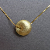 Gold Necklace  Puffy Bead Pendant  Round by DaliaShamirJewelry