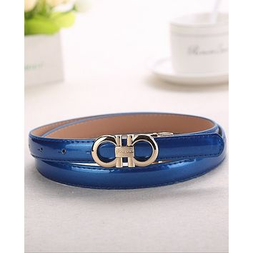 FERRAGAMO 2018 summer new women's wild fashion casual paint belt F0448-1 blue