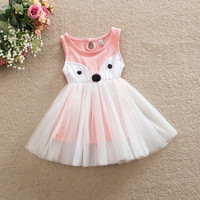 0-5Y Toddler Kids Baby Girls Fox Dress Sleeveless Ball Gown Summer Princess Party Pageant Dresses