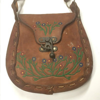 70s Tooled Leather handbag Purse | vintage hand painted flowers brown Leather Western handbag floral Whipstitch distressed leather crossbody