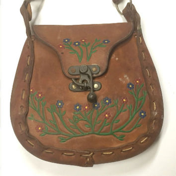 70s Tooled Leather Handbag Purse Vintage Hand Painted Flowers