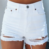 Short & Sweet Denim Shorts: White