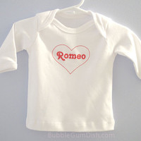 baby boy tshirt Romeo Valentines Day Embroidered red heart long sleeve
