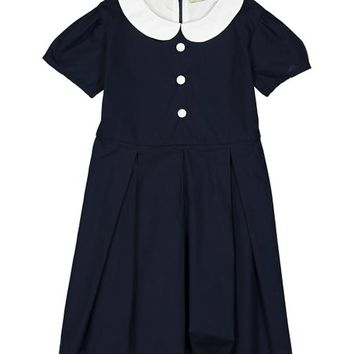 Navy Peter Pan Collar Pleated A-Line Dress - Infant, Toddler & Girls