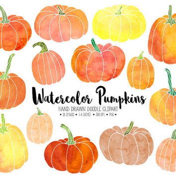Watercolor Pumpkin Clipart. Hand Drawn Thanksgiving Pumpkins. Watercolour Pumpkin Clip Art. Hand Painted Fall, Autumn, Halloween Watercolors