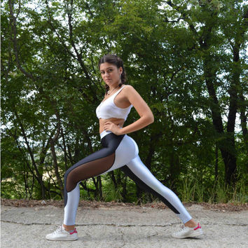 Handmade Black - Light Blue Grey Silver Leggings Athletic Bottoms Workout Pants Yoga Leggings Gym Clothing Spandex Fabric Sexy Leggings