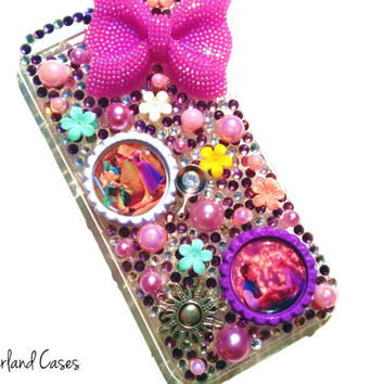 Custom Tangled Rapunzel Flynn Rider Phone Case Bling Rhinestone Phone Case Cover Tablet iPhone 6 5 5S Samsung Galaxy Note