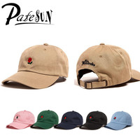 PATESUN Green Pink Black Navy Khaki Sky Blue THE HUNDRED Flower Rose Embroidery Snapback  Dad Hats Baseball Cap trapback Hip Hop