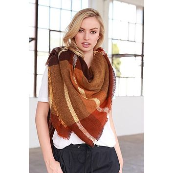 Blanket Scarf (Rust & Orange Color Block)