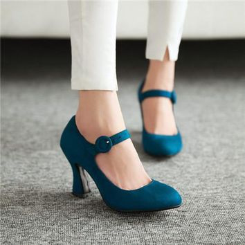 1930's Mary Jane Faux Suede Vintage Style Shoes - 5 Colors