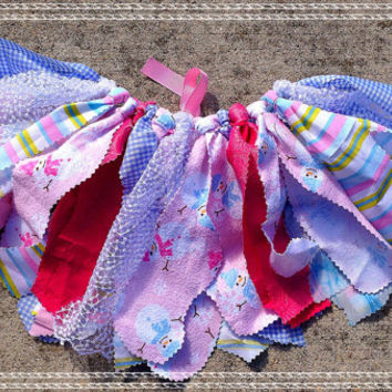 Pink and Blue Snowman tutu winter tutu holiday Fabric by LilNicks